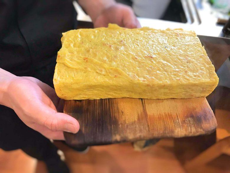 出張寿司の当日の様子。キレイで厚みのある卵焼き。