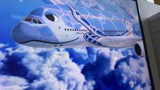 ANAハワイ便のフライングホヌを紹介するモニター